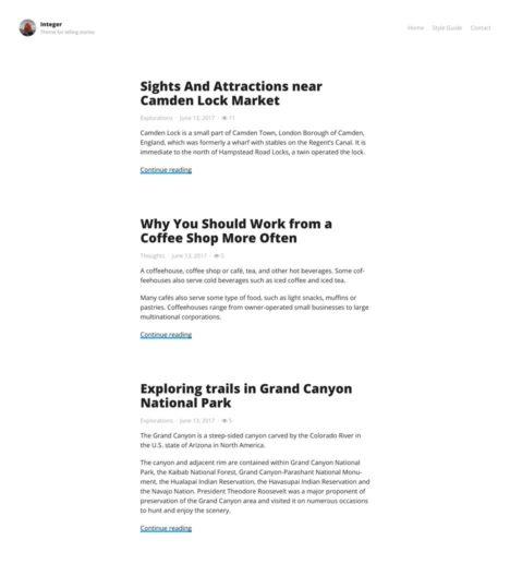 Integer – Blogging WordPress Theme
